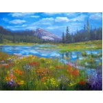 This is a painting of the Meadows when the wildflowers are in full bloom